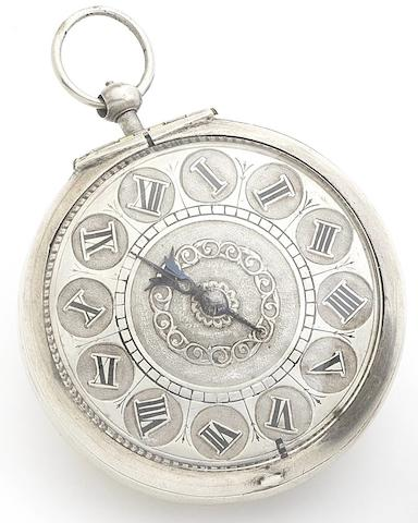 Johannis Thomson. A very fine and rare late 17th century silver filigree pair case key wind pocket watch Circa 1665, Evoraci (York)