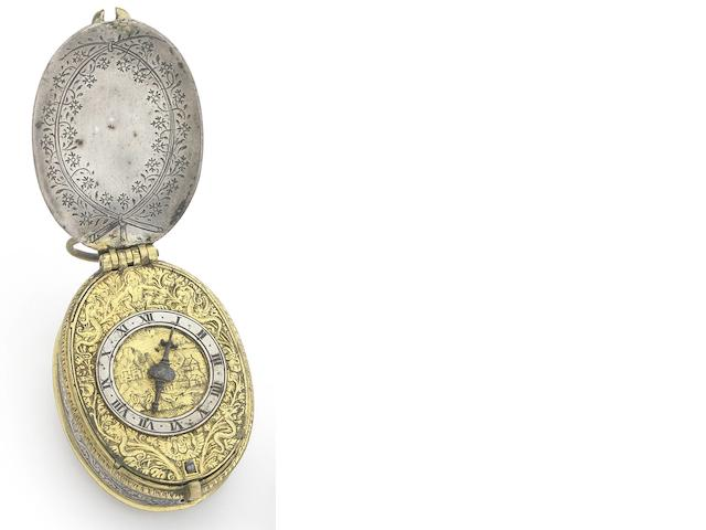 John Savedge, Exeter. A very fine and rare silver and gilt metal engraved oval pre-balance spring pocket watchCirca 1613