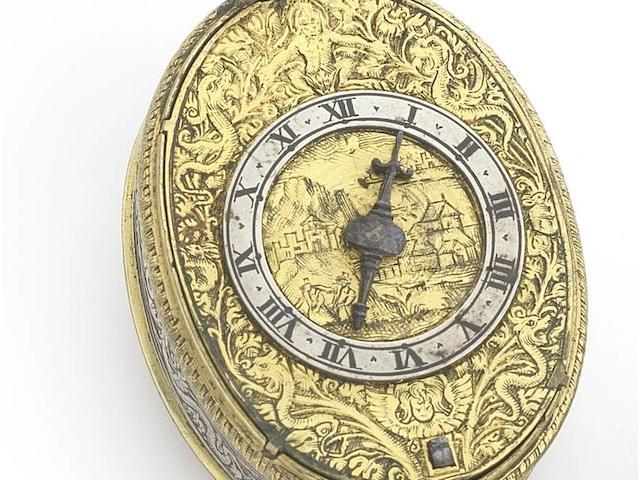 John Savedge, Exeter. A very fine and rare silver and gilt metal engraved oval pre-balance spring pocket watchCirca 1613