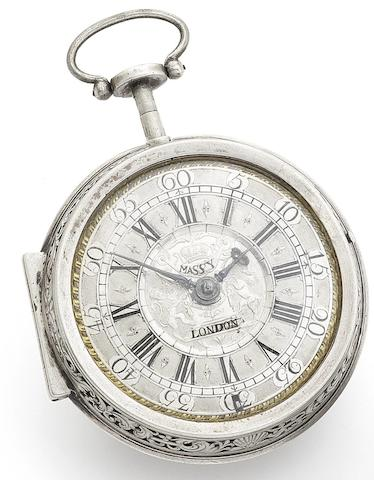 Massy, London. An early 18th century silver pair case repeating pocket watch Circa 1720
