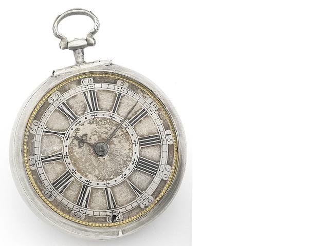 Francis Robinson. A fine and rare early 18th century silver pair case pocket watch No.869, Circa 1720