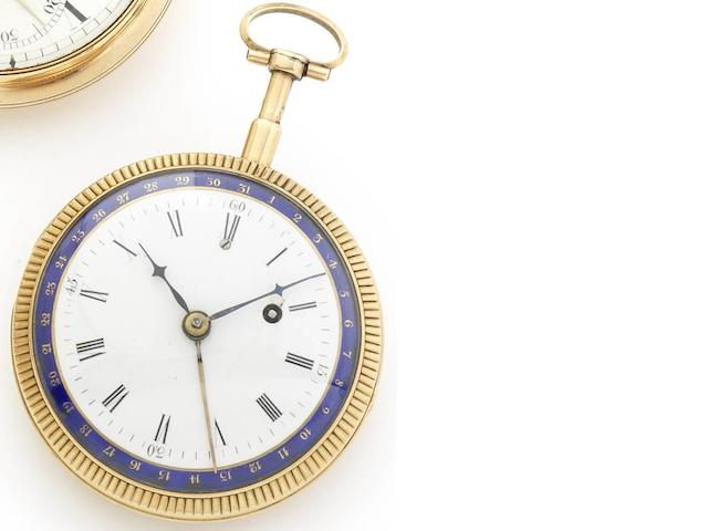 Swiss. A fine turn of the 19th century gold quarter repeating calendar open face pocket watch Circa 1800