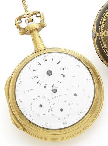 Ralph Gout. A late 18th century gilt metal open face pedometer pocket watch No.51, Circa 1795