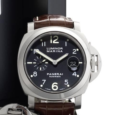 Panerai. A stainless steel automatic calendar wristwatch with box and papers Luminor Marina Automatic, Ref:PAM00164, Case No.N0443/1800, Circa 2011