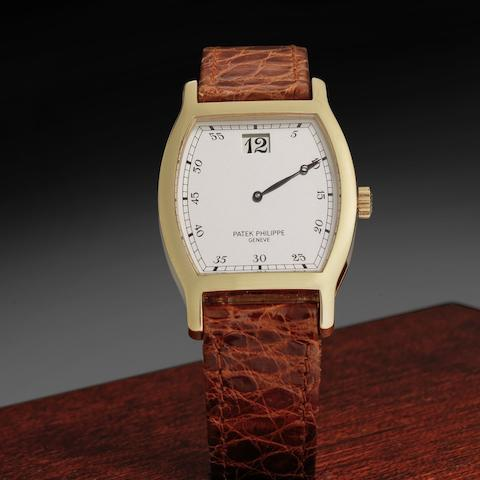 Patek Philippe. An 18ct rose gold manual wind wristwatch with jump hour 150th Anniversaire 1839-1989, Ref:3969, Case No.2864547, Movement No.752534, Sold 1st July 1989