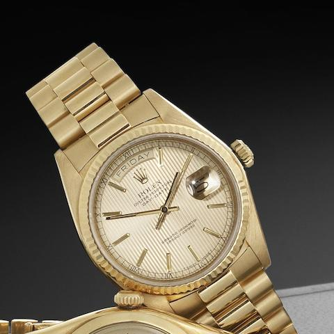 Rolex. An 18ct gold automatic calendar bracelet watch Day-Date, Ref:18038, Serial No.758****, Circa 1981