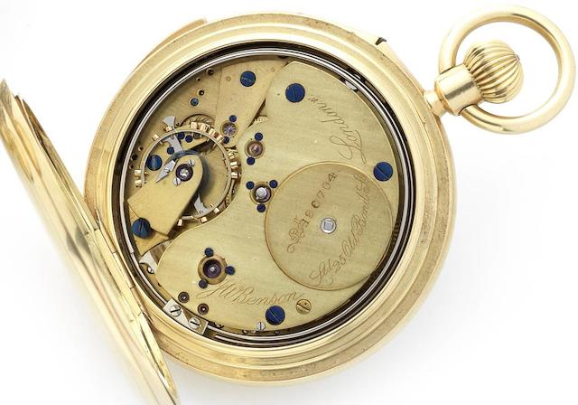 Benson. An early 20th century 18ct gold half hunter keyless wind minute repeating pocket watchNo.196704, London Hallmark for 1913