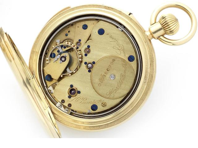 Benson. An early 20th century 18ct gold half hunter keyless wind minute repeating pocket watch No.196704, London Hallmark for 1913