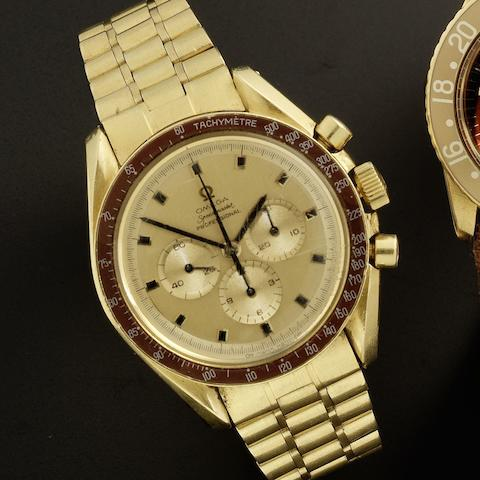 Omega. An 18ct gold manual wind chronograph bracelet watch Speedmaster, No.333, Ref:145022/69, Movement No.28420412, Sold 5th July 1970