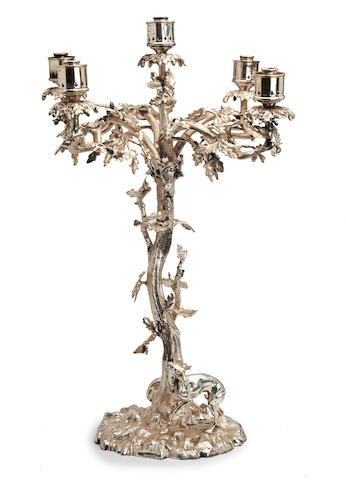 A Victorian electroplated five light candelabra by Henry Wilkinson & Co., Sheffield circa 1870