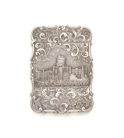 A cased Victorian silver 'castletop' card case by Nathaniel Mills, Birmingham 1836