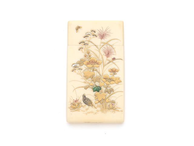 A fine Meiji period Japanese ivory and Shibiyama decorated card case