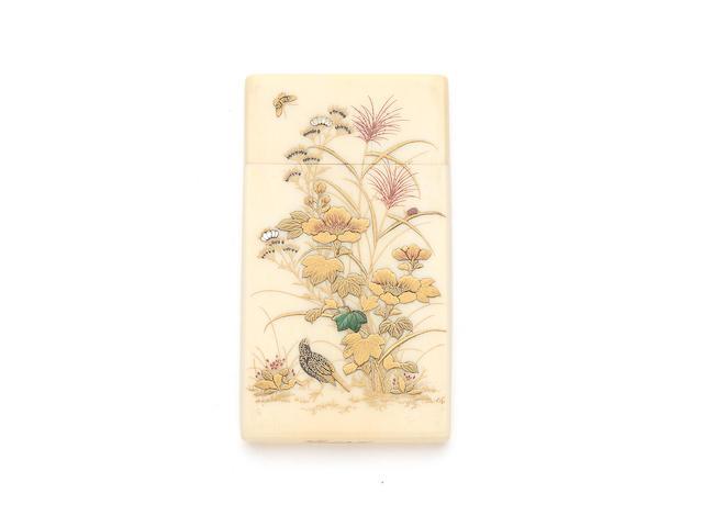 A fine Meiji period Japanese ivory and Shibiyama decorated card case