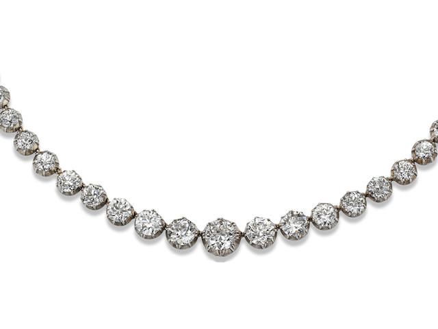 A 19th century diamond rivière necklace