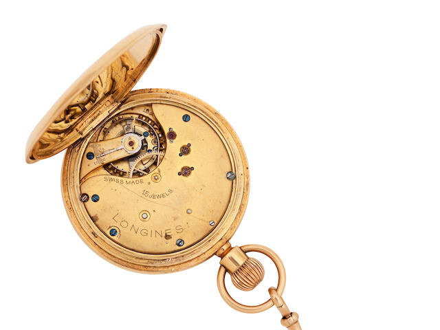 An 18ct gold hunter pocket watch, by Longines