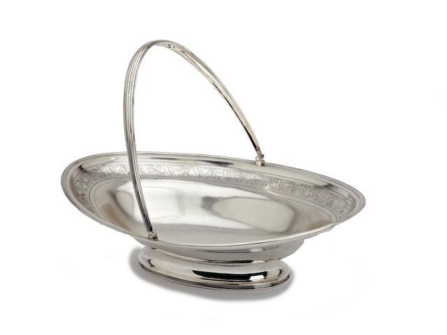 A George III silver swing handle basket by John Robins, London 1800