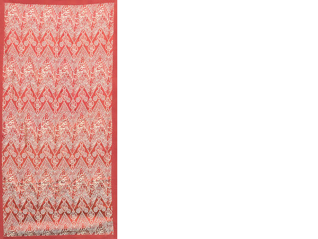 An Ottoman woven silk lampas-weave tomb cover Fragment Egypt or Syria, 19th/ 20th Century