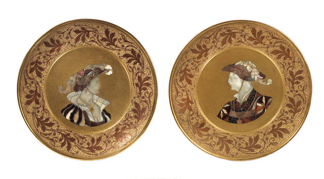 A pair of German late 19th century Renaissance-style gilded galvanoplastic metal, ivory, mother of pearl and tortoiseshell-inlaid decorative plates, by Jean Kayser Sohn, Crefeld  both signed 'J. F. Kayser Sohn, Crefeld' to a reserve to rim; the back of one stamped 'CORVINIELLO PATENT 85'