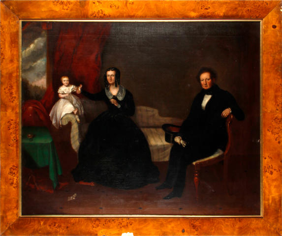 English School, circa 1840 Portrait of the Harris family in an interior approx 60 x 90cm