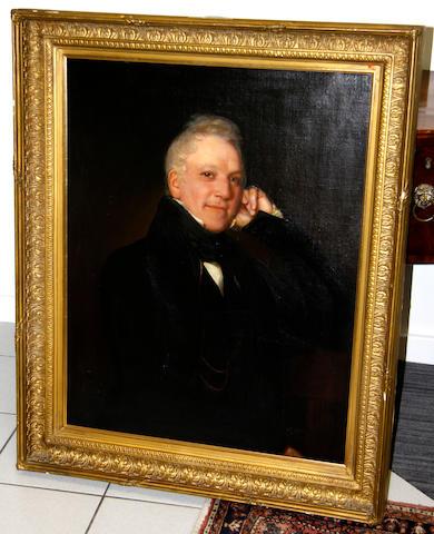 English School, circa 1820 Portrait of a gentleman, half length, wearing black jacket and tie