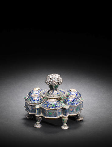 A gem-set? enamelled silver-gilt Spice Box Lucknow, circa 1850