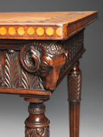 A carved mahogany and padouk marquetry side table, in the manner of Robert Adam