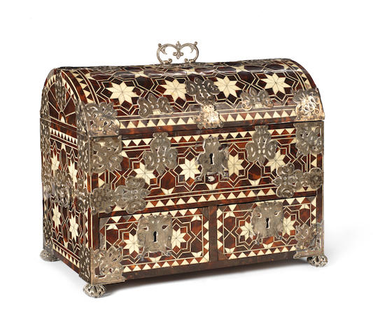 A Spanish late 17th century ivory, bone, tortoiseshell and silver mounted box