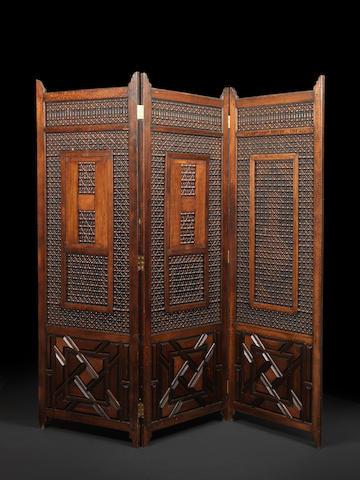 Late 19th c Egyptian Mushrabyia 3 fold screen