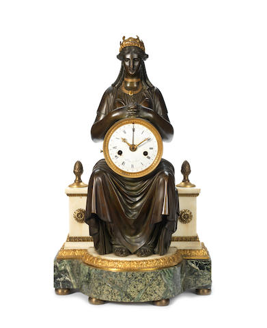 A French Empire gilt and patinated bronze, white and green marble figural clock
