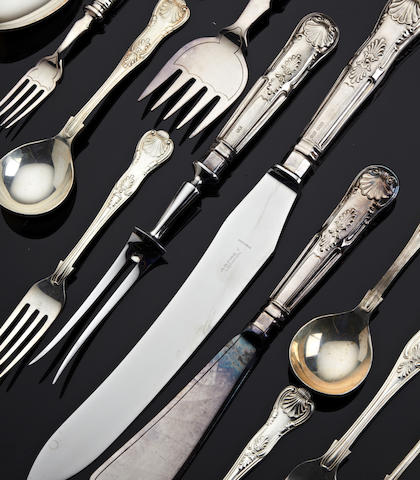 A silver King's pattern canteen of cutlery for six place settings by Gee & Holmes, Sheffield, 1971/2