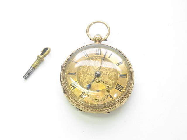 A 19th century 18ct gold open faced pocket watch, by John Forrest
