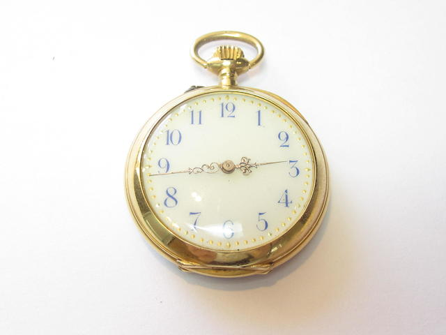 A late 19th century enamel and diamond open faced fob watch