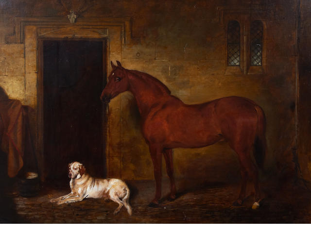 John Alfred Wheeler of Bath (British, 1821-1903) Chestnut hunter and hound in a stable interior, 69.5 x 89.5cm