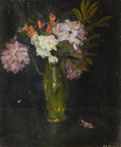 Alexander Jamieson ROI (British, 1873-1937) Still life with rhododendron in a green jug