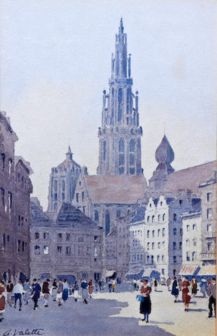 Adolphe Valette (French, 1876-1942) The Town Square, Antwerp