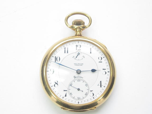 An 18ct gold open faced pocket watch, by Waltham