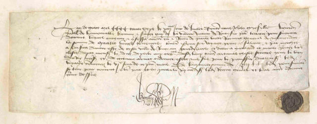 HUNDRED YEARS WAR. Warrant issued by Jehan Grésille, Lieutenant to Guy de la Villette, vicomte de Rouen, 1437