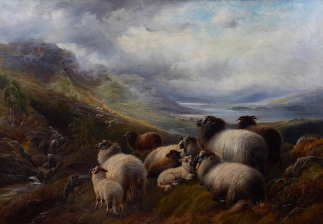 Robert Watson (British, active 1877-1920) 'Scotch sheep, Ben clough(?), Ayrshire'