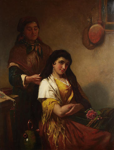 Continental School, 19th Century A girl having her hair braided