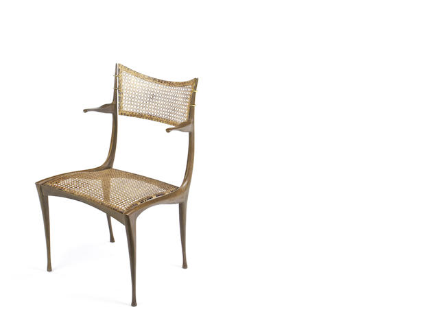 Dan Johnson for Dan Johnson Studios Gazelle Chair designed circa 1950  bronze and wicker   Height: 79 cm.  31 1/8 in.