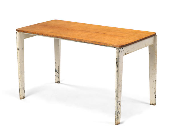 Jean Prouvé Table circa  painted steel and oak  70 by 122 by 60 cm. 27 9/16 by 48 1/16 by 23 5/8 in.