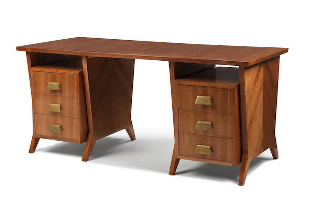 Gio Ponti A Desk circa 1950  cherrywood and brass  76 by 170 by 78 cm. 29 15/16 by 66 15/16 by 30 11/16 in.