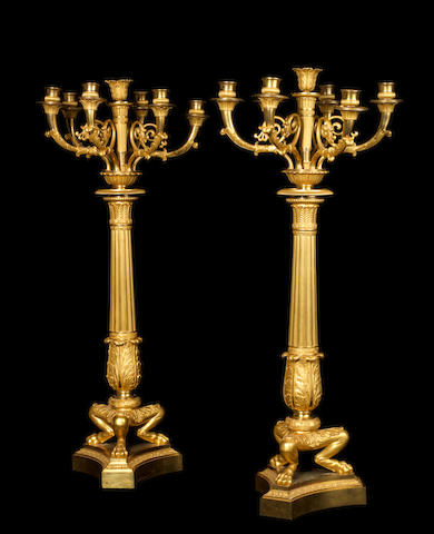 A pair of French Empire gilt-bronze seven-light candelabra by Thomire, Paris