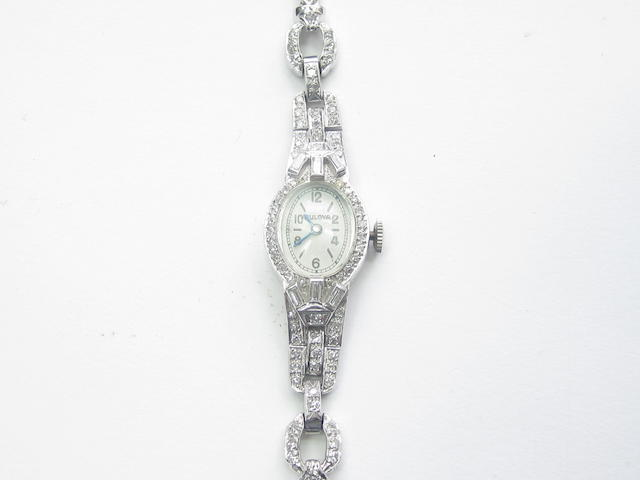 A lady's diamond cocktail watch, by Bulova