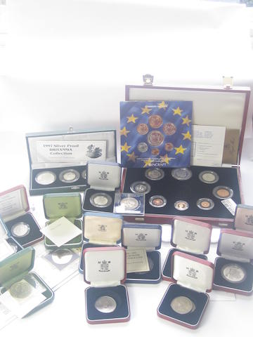 A collection of coins To include a Commemorative proof coin collection dated for 1981, (five pound proof coin lacking), a United Kingdom ECU mint set, dated 1992, etc