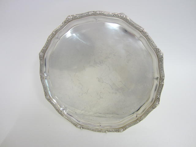 A silver circular salver  by Elkington & Co., Birmingham 1968