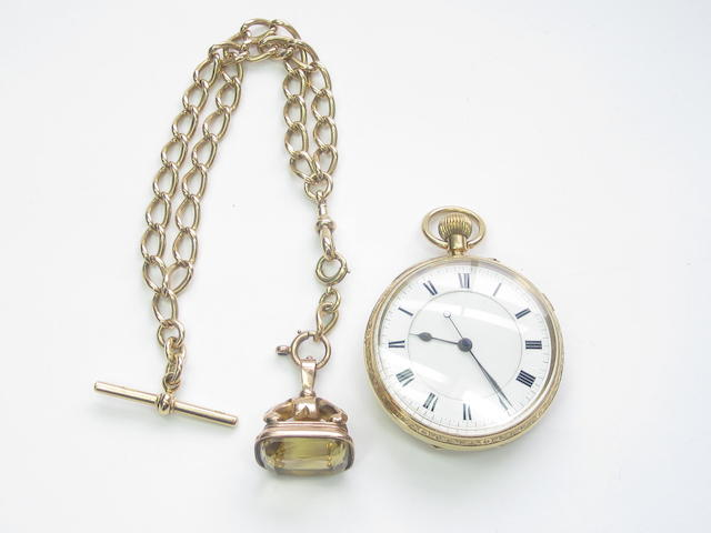 An 18ct gold open faced chronograph pocket watch and an Albert watch chain