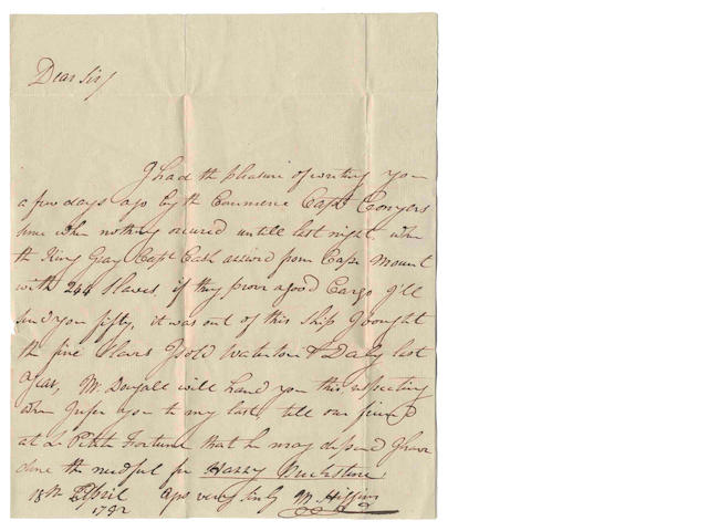 MANUSCRIPTS - SLAVERY. Autograph letter signed by M. Higgins of Grenada, 1792