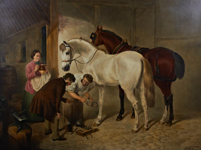 English School, 19th Century, Frederick Garner (English school, mid 19th century) Shoeing the horses