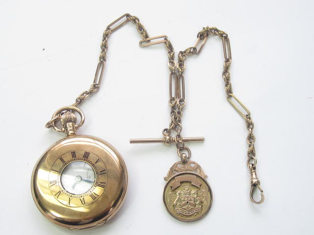 A 9ct gold half hunter pocket watch, by Vertex